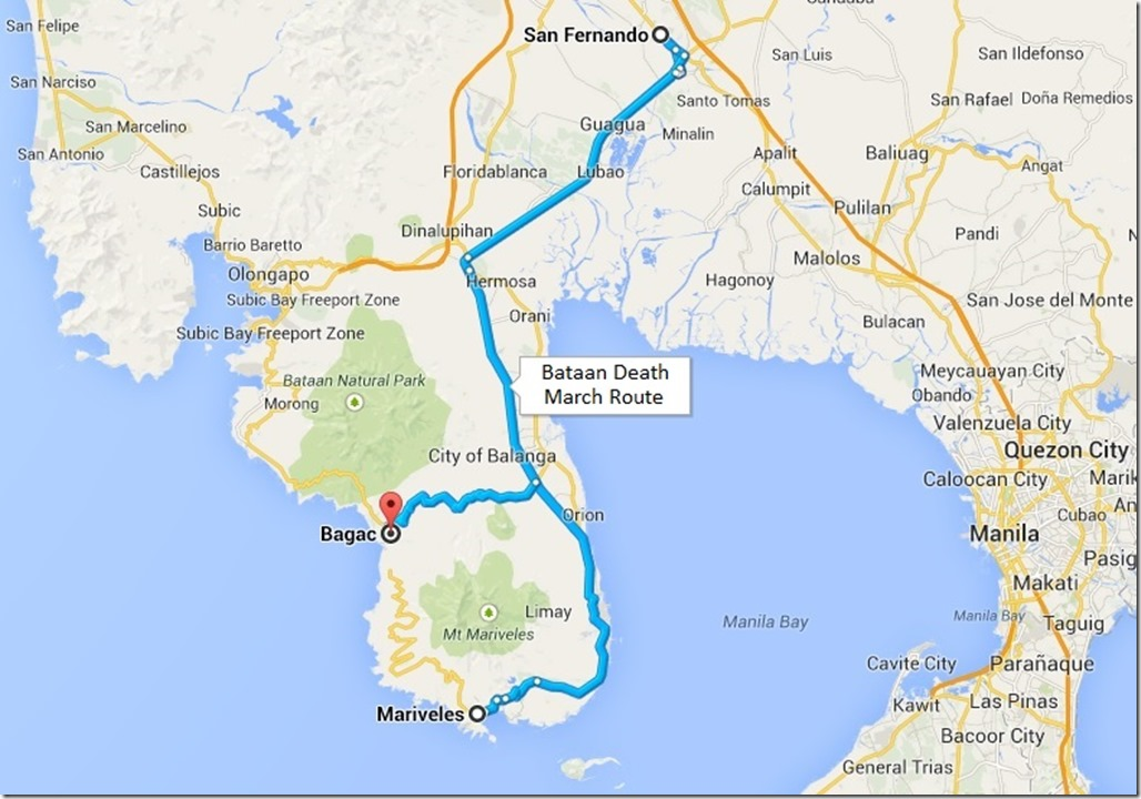 Bataan Death March Route
